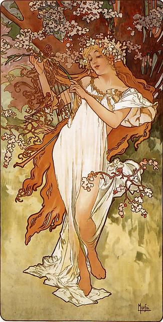 Les Quatre Saisons - Printemps (spring) by Alfons Mucha (1896)