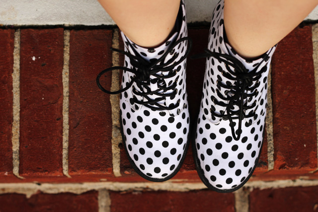 Polka Dot Lace Up Boots