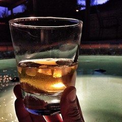 Hello Glenfiddich Scotch Whisky, meet hot tub.  #ScotchyScotch #relaxing #homesweethome
