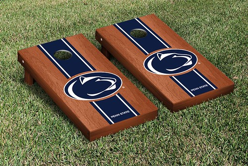 29919 - Penn State PSU Nittany Lions Cornhole Game Set Rosewood Stained Stripe Version