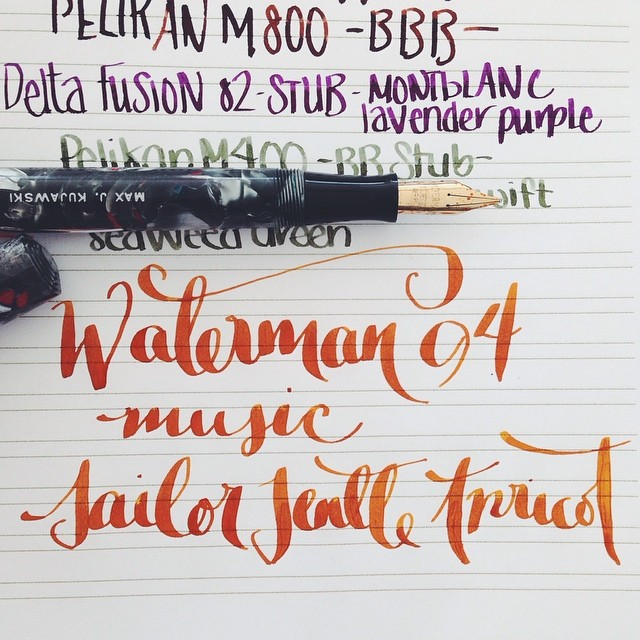 Flex Nib Friday.  Waterman 94.  Music Nib.  Sailor Jentle Apricot.  #flex #flexnibs #flexnibfriday #fountainpen #fountainpens #fpgeeks #pens #penporn #penaddict #waterman #vintage #music #sailor