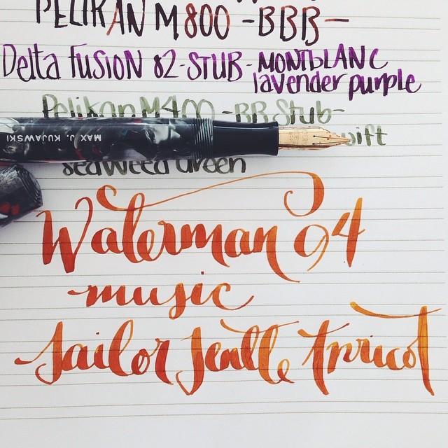 Flex Nib Friday. Waterman 94. Music Nib. Sailor Jentle Apricot. #flex #flexnibs #flexnibfriday #fountainpen #fountainpens #fpgeeks #pens #penporn #penaddict #waterman #vintage #music #sailor