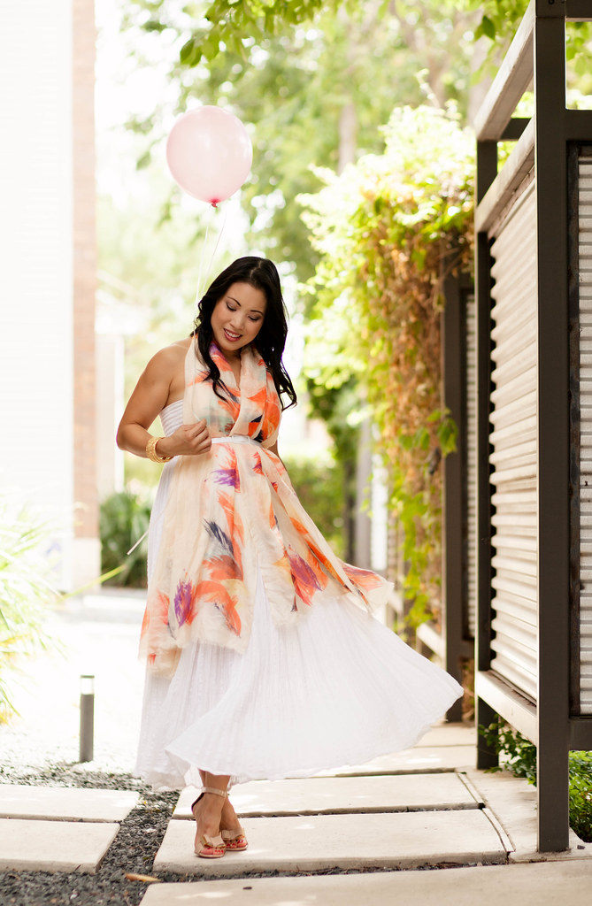 cute & little blog | petite fashion | lulla by bindya ny peach scarf, white maxi | maternity pregnant bump summer style | gender reveal