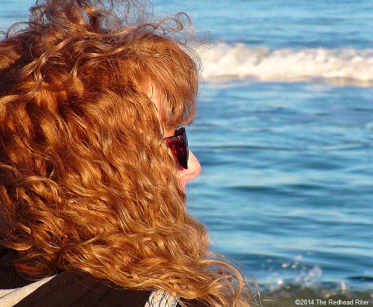 woman beach sherry redhead riter on 2014-01-18 va beach bright blue ocean