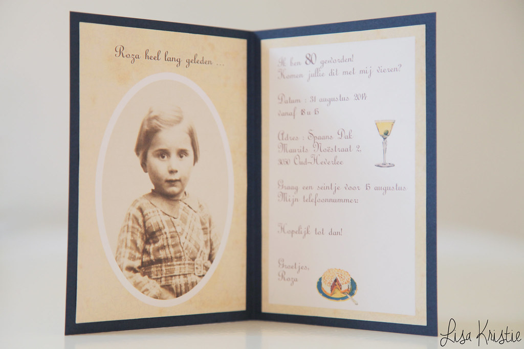vintage look invitation card diy paper handmade 80th birthday  flowers illustration copyright free royalty old childhood picture photograph portrait dinner restaurant