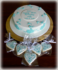 90th Birthday Applique Cake in Aqua and matching Iced Cookies