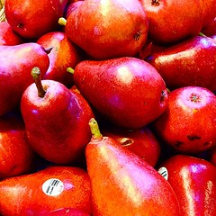 Good morning from Vancouver! Red Pears at the market!