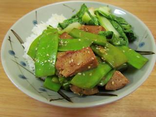 Ginger-Sesame Seitan with Spicy Basil Snow Peas