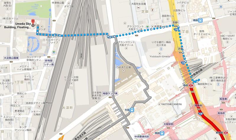 梅田至空中庭園地圖
