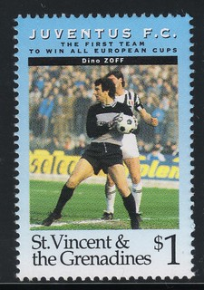 juventus the first team to win all europe cups stamp 10 - st. vincent & the grenadines