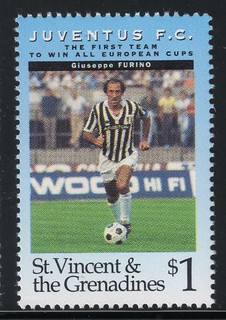 juventus the first team to win all europe cups stamp 5 - st. vincent & the grenadines