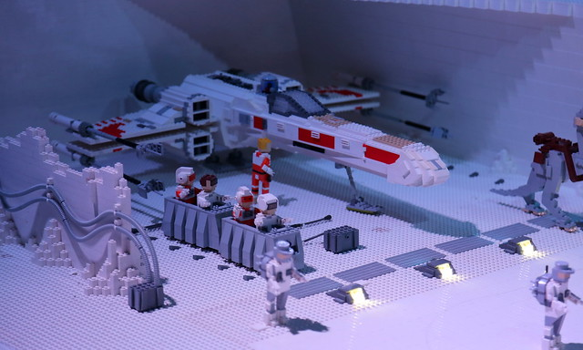 An X-Wing fighter on Echo Base hidden on planet Hoth