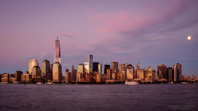 One WTC, Lower Manhattan and the Harvest Moon
