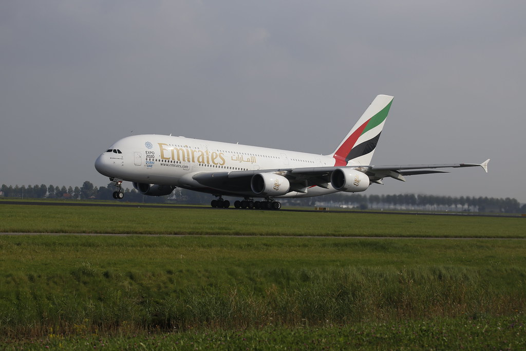 Emirates A380 takes off in Amsterdam