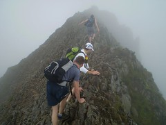 Traversing the Crib Goch Ridge. Image