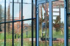Reflektion in Fassade von Gewächshaus