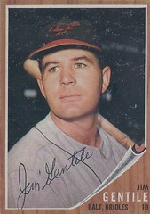 1962 Topps - Jim Gentile #290 (First Base) - Autographed Baseball Card (Baltimore Orioles)