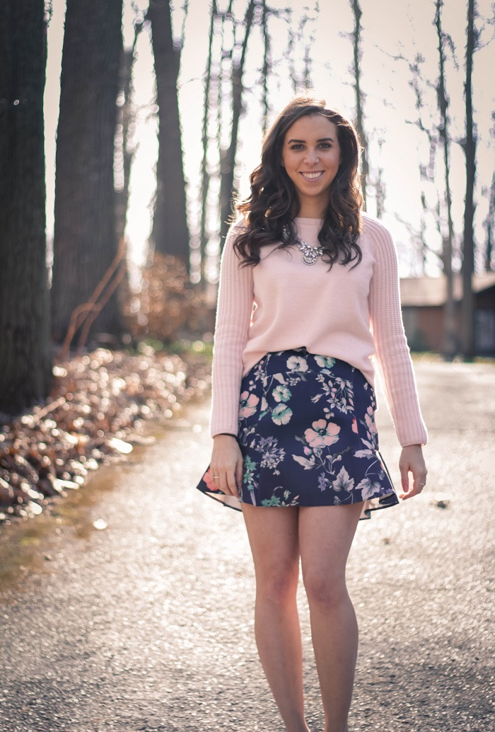 va darling. dc fashion blogger. personal style blogger. virginia personal style blogger. zara floral skirt. pink wool gap sweater. jcrew metallic pumps. baublebar silver  necklace. 14