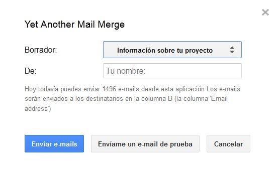 ventana de Yet another mail merge