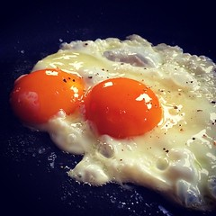 I have a thing for breakfast... Also, these yolks are so beautifully orange it