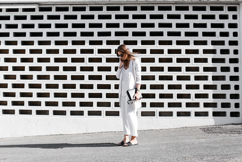 modern legacy fashion white on white street style blog Rodebjer Theyskens Theory wide culottes Camilla and Marc Zoya cami top Common Projects leather slide sandals Alexander Wang Prisma envelope clutch bag outfit work office wear (3 of 12)