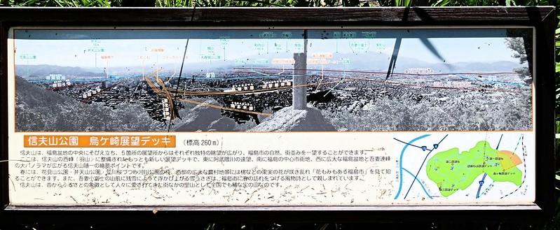 福島市・信夫山(しのぶやま)の烏ヶ崎展望デッキの山座同定図