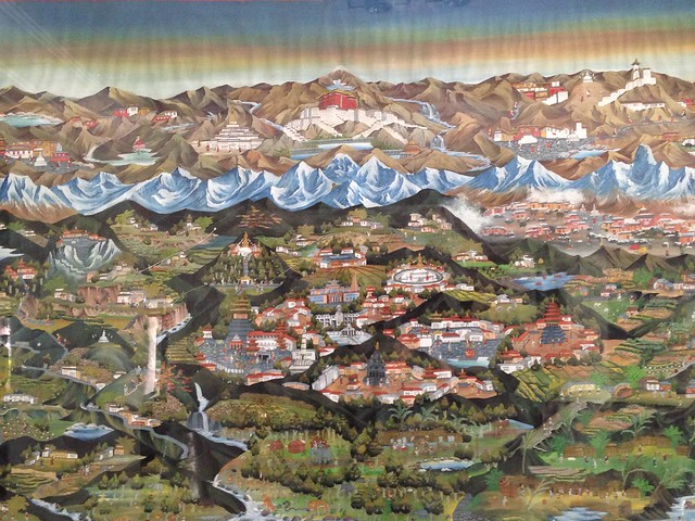 The artist's representation of the Kathmandu Valley with the Himalayas in the background