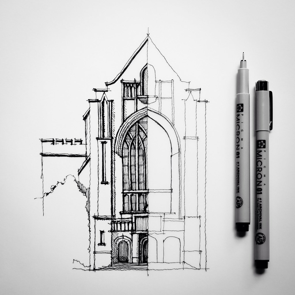 Half Sketch Drawing Architecture