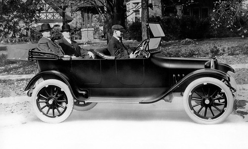 Horace Dodge (left rear) and John Dodge (right rear) take delivery of the first Dodge car, November 14, 1914