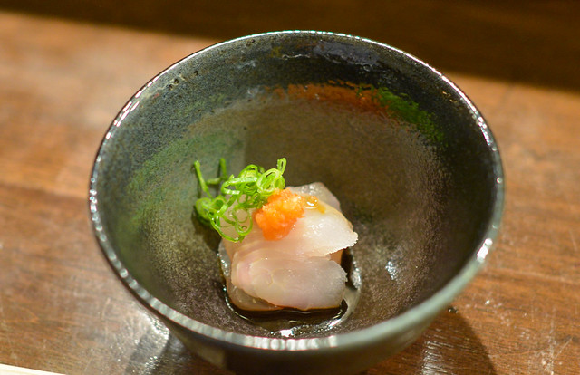 Flounder ponzu, scallion