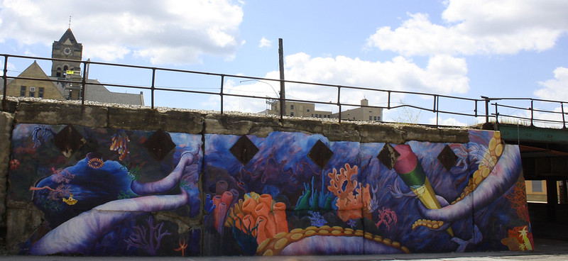 Graffiti / Mural on Train Bridge, Harrison and 5th St., Davenport, Iowa