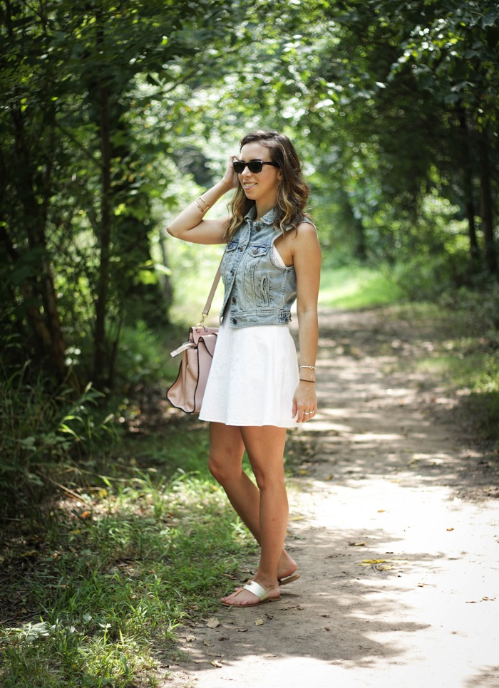white sundress. white dress. denim vest. vest over dress. curly hair. gold sandals. dc style fashion blogger. 3
