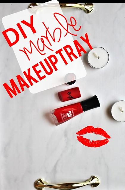 DIY Marble Makeup Tray