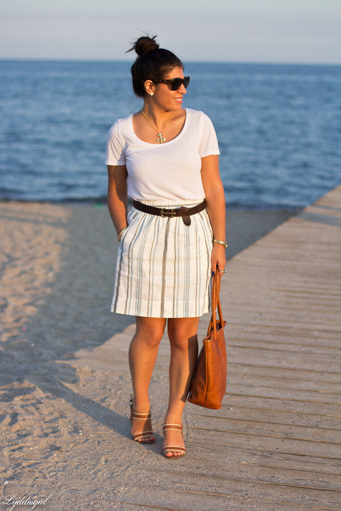 striped linen skirt, white tee, anchor belt.jpg