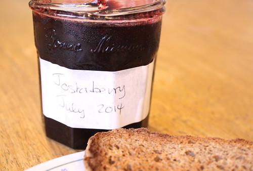 Homemade jostaberry jam