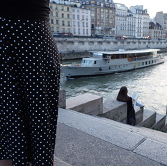 White Dots Dress For Romantic Navy Readings ~ Paris ~ MjYj
