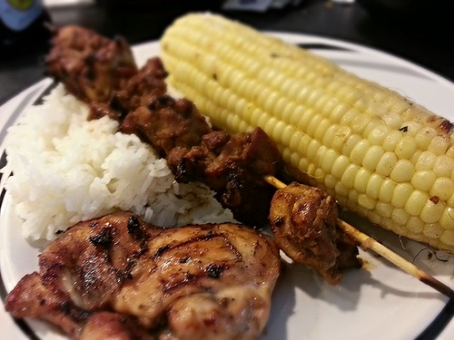 grilled indonesian chicken satay, corn, and soy vinegar chicken
