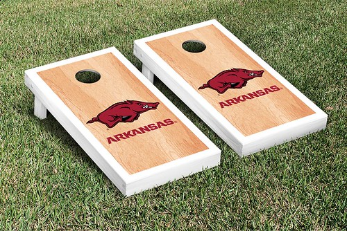 Arkansas Razorbacks Cornhole Game Set Banner Hardcourt Version