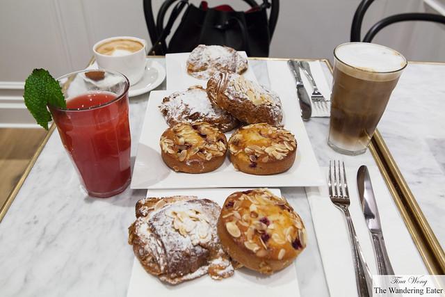 Pain au chocolat aux amandes (Chocolate Almond Croissant) & Pain de Gênes cerise and Watermelon & Basil juice, Iced Cappuccino, Cappucino