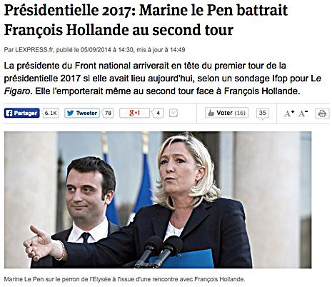 14i07 LExpress Marine ganaría a Hollande en una elección presidencial