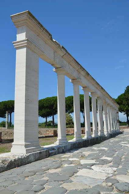 The reconstructed monumental colonnade along the Appian Way, Minturnae, Minturno, Italy