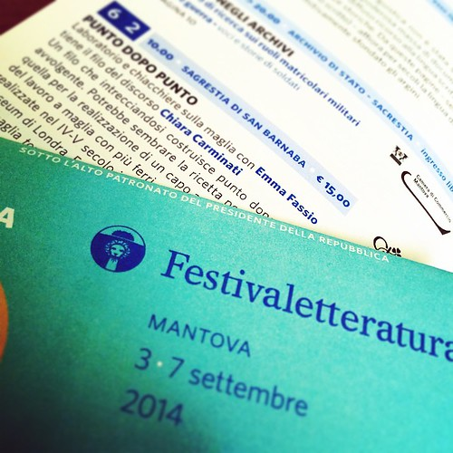 Il primo dei 4 appuntamenti a #Mantova @festivaletteratura. The first of 4 workshops at Mantova #knitting
