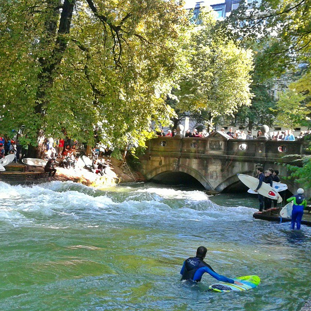 Surfers at the English Garden, Munich, Germany