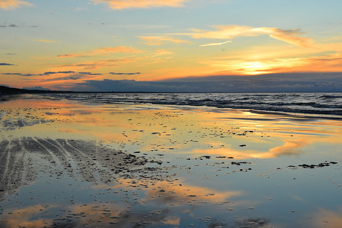 sunset sea summer beach water mirror evening bay high sand wind tide wave