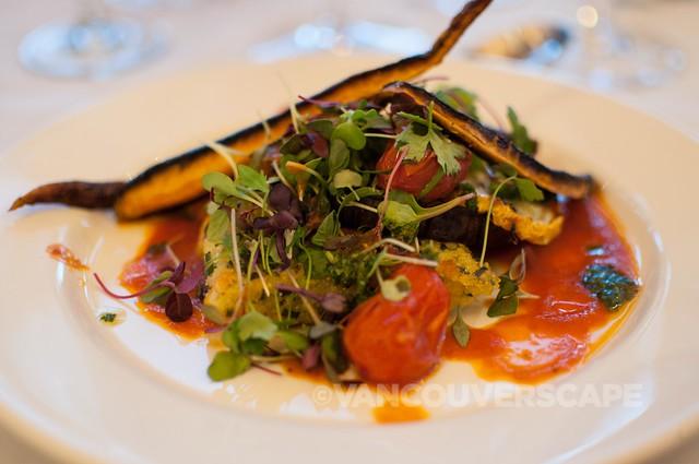 Grilled summer vegetables, baked polenta, roasted tomato sauce
