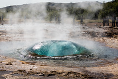 Geyser bubble just before eruption