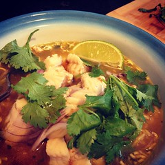 After simmering the chicken bone broth in the crock pot for 24 hours, I made spicy ramen with catfish, onion, garlic, cilantro, lime and topped with sesame oil. It was deliciously unctuous from all the gelatin. Hopefully that'll keep the nasty cold/sinus