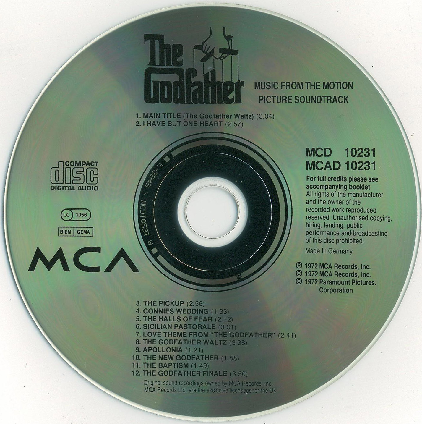 Nino Rota The Godfather Part II Original Soundtrack Recording