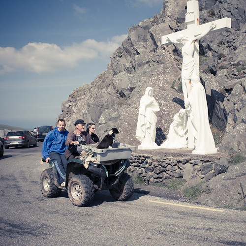 A man, his dog, some people, an ATV and a crucifixion!