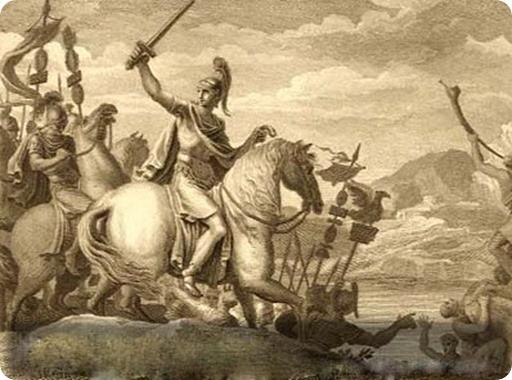"Caesar Crossing the Rubicon, from book ""Figures de L'Historie de la Republique Romaine"""